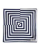 Tom Ford Linear Pattern Pocket Square, Blue/White