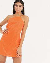 Club L London cut away sequin strappy back mini dress