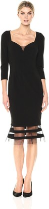 JS Collections Women's Sweetheart Neck 3/4 SLV Dress with Flip Hemline