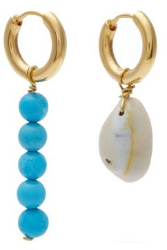 Timeless Pearly Mismatched Turquoise & Gold-vermeil Earrings - Blue