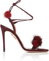 Aquazzura Women's Wild Russian Suede Sandals-BURGUNDY