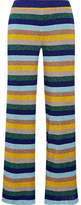 Missoni Metallic Striped Knitted Wide-leg Pants - Blue