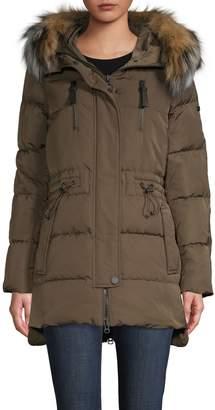 Derek Lam 10 Crosby Fox Fur Trim Drawstring Down Coat