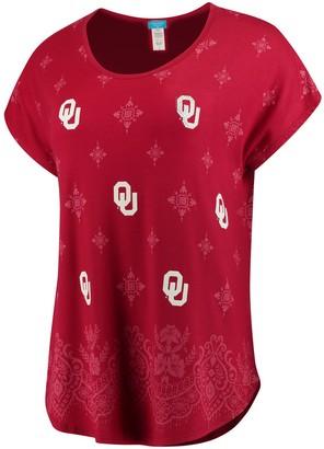 Women's Crimson Oklahoma Sooners Repeat Logo Lace Print T-Shirt