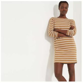 Joe Fresh Women's Stripe Long Sleeve Dress, Brown (Size M)