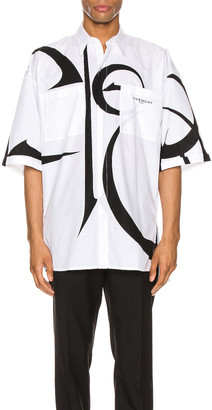 Givenchy Short Sleeve Shirt in White & Black | FWRD