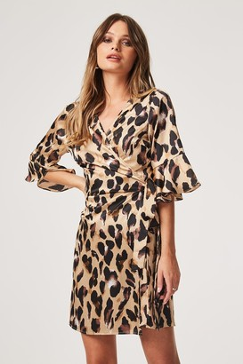 Girls On Film Outlet Jagger Leopard Satin Wrap Dress