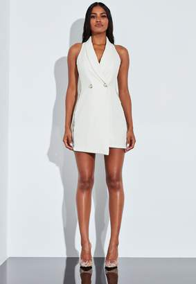 Missguided Ivory Lace Pearl Button Mini Dress