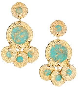 Gas Bijoux Illusion Bo 24K Goldplated, Gold Fleck & Enamel Chandelier Earrings