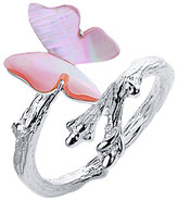 Lotus Fun Women's Rings Pink - Pink Shell & Sterling Silver Butterfly Bypass Ring