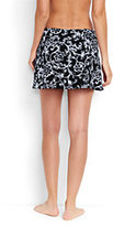 Lands' End Women's Petite SwimMini Skirt-Black/White Etched Scroll