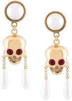 Moschino skull and pearl clip-on earrings