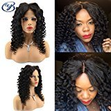 YUAN Peruvian Virgin Human Hair Full Lace Wigs For Black Women With Baby Hair 130 Density Loose Curly Wave Lace Front Wigs 1B Natural Black Color(20inch, Lace Front Wigs)