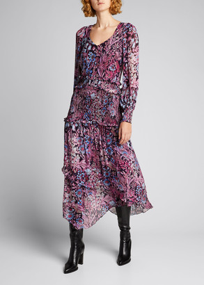 LoveShackFancy Carrillo Floral Chiffon Long-Sleeve Dress