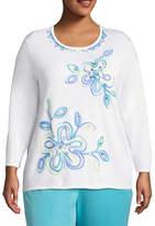 Alfred Dunner Bonita Springs Floral Pullover Sweater-Plus