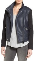 Bernardo Knit Sleeve Faux Leather Moto Jacket