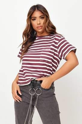 I SAW IT FIRST Burgundy Stripe Pocket Front Cotton T-Shirt