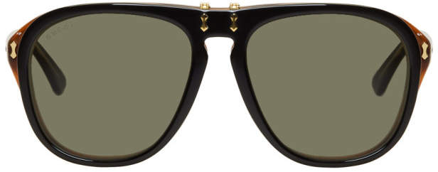 Gucci Black and Tortoiseshell Flip-Up Pilot Sunglasses