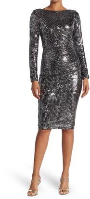 Dress the Population Emilia Sequin Long Sleeve Midi Dress