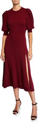 Jonathan Simkhai Draped-Back Cashmere Front-Slit Midi Dress