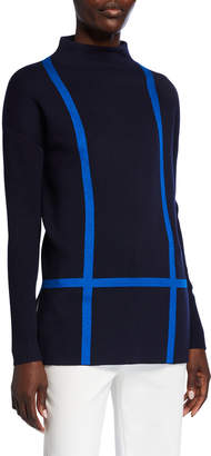 St. John Windowpane Double Knit Funnel-Neck Top w/ Rib Sleeves