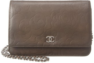 Chanel Grey Caviar Leather Camellia Wallet On Chain