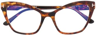 Tom Ford Tortoiseshell-Effect Cat Eye Glasses