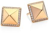 Roberto Coin Obelisco Diamond 18K Rose Gold Stud Earrings