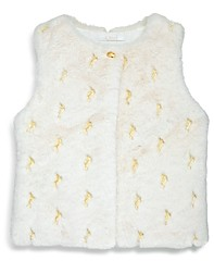 Chloé Girls' Embroidered Faux Fur Vest - Big Kid