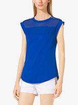 Michael Kors Sleeveless Sheer-Panel Jersey Top Plus Size
