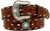Ariat Western Belt Womens Scalloped Overlay Crystals M Brown A1521002