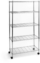 Seville Classics UltraZinc 5-Shelf Home-Style Steel Wire Shelving Storage Rack with Wheels, 14 x 30 x 60""