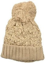 D&Y Women's Textured Knit Basket Weave Beanie with Pom and Plush Lining