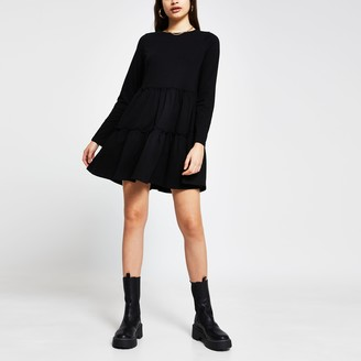 River Island Womens Black tiered smock long sleeve mini dress