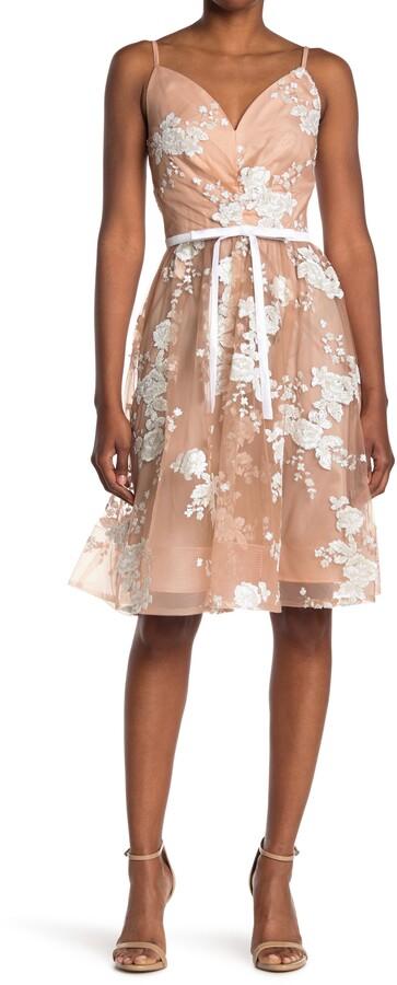 Calvin Klein Floral Sequin Lace Party Dress