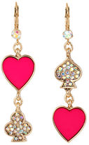 Betsey Johnson Casino Royale Pink Heart and Pave Double Drop Mismatch Earring