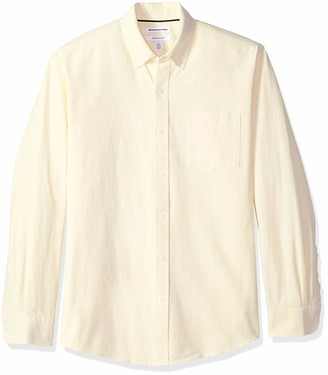 Amazon Essentials Regular-Fit Long-Sleeve Solid Pocket Oxford Shirt Button