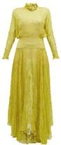Preen by Thornton Bregazzi Mary Ruffle-neck Devore Maxi Dress - Womens - Yellow