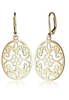 Elli Women Genuine Jewellery Earrings Dangle & Drop Ear Ornament 925 Sterling Silver Gold Plated