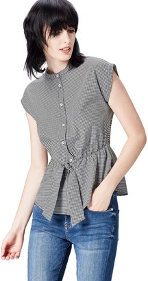 Find. Amazon Brand Women's Tie Waist Check Shirt Long Sleeve Shirt