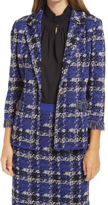 Ming Wang Plaid Knit Fringed Jacket