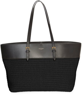 Saint Laurent Raffia & Leather Shopper