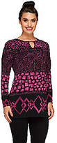Susan Graver Printed Liquid Knit Long SleeveTunic w/Keyhole