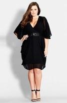 City Chic Sequin Wrap Front Dress (Plus Size)