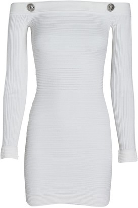 Balmain Off-The-Shoulder Ribbed Mini Dress