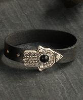Nautilus Silver-Plated & Leather Hamsa Bracelet