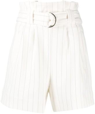 Ganni Pinstripe Paperbag Shorts