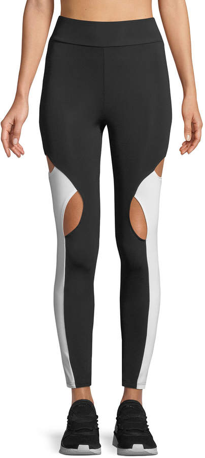 Cushnie et Ochs High-Waist Cutout-Knee Active Leggings