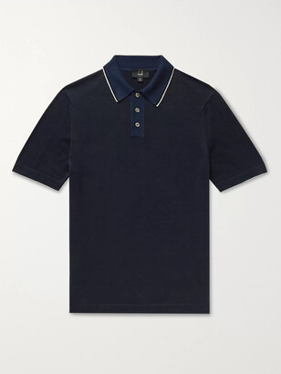 Dunhill Slim-Fit Silk-Trimmed Knitted Cotton Polo Shirt - Men - Blue