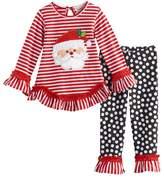 Rare Editions Baby Girl Santa Claus Striped Ruffle Top & Leggings Set